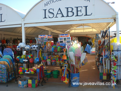 Javea Arenal Beach shop