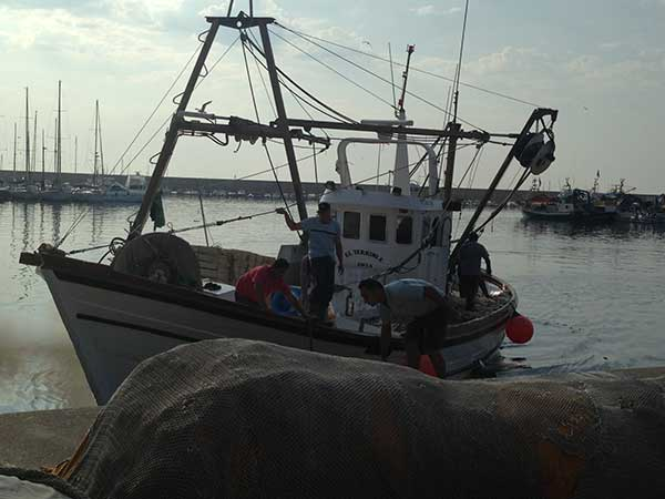 Javea fishing boat retuirns to port