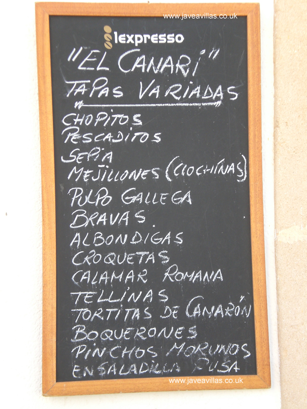 Click on this picture for a larger Javea Tapas Menu